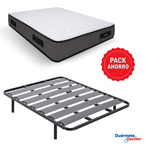 Duérmete Online - Pack Ahorro Cama Completa con Colchón Viscoelástico Visco Premium Biogel + Somier Lama Ancha + Patas Roscadas, 135x190