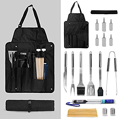 Grilling Accessories BBQ Tools Set with Thermometer 18PCS Stainless Steel Grilling Kit for Smoker, Camping, Kitchen,Complete Barbecue Accessories Kit with Portable Bag Perfect Grilling Tool Set Gift