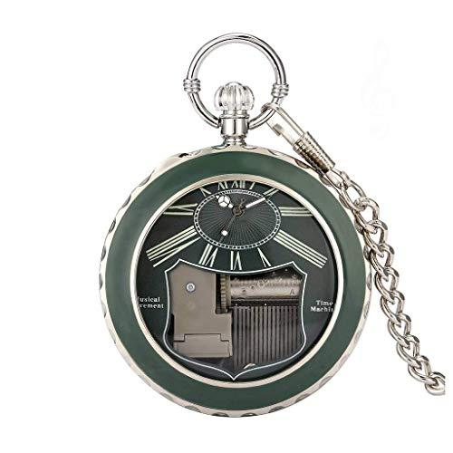 XXCHUIJU Creativo manivela Jugando música Cisne Lago Cuarzo Reloj de Bolsillo Caja de Plata Romano Luminoso Verde Azul dial Movimiento Musical Regalo