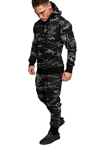 Amaci&Sons Herren Kontrast Sportanzug Jogginganzug Trainingsanzug Sporthose+Jacke 1006 Camouflage Schwarz L
