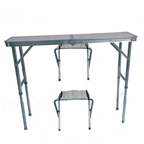 Soytich Klapptisch Campingtisch mit 2 Stühle Klappstuhl Tisch Koffertisch(Tisch 90x60)