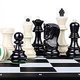 Pank Ajedrez de Alto Nivel, Conjunto de ajedrez de Resina de polímero, Tabla de Plegado de Gran tamaño de 19 Pulgadas, Adecuado para niños y Adultos, Blanco Negro, Regalo