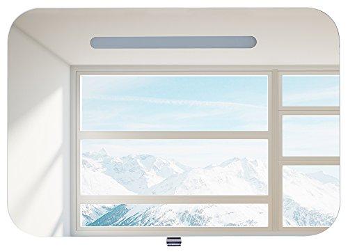 HENRY Spiegelschrank Badmöbel Weiß   90 x 55 x 13,5 cm (BxHxT)   Halogen-Beleuchtung   Licht und Schalter   Hochglanz Lackierung Weiß   Glaseinlegeboden   Soft-Close   Montagefertig vormontiert