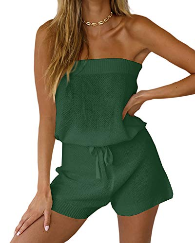 Chang Yun Womens Summer Jumpsuits Casual Loose Sleeveless Off Shoulder Elastic Waist Romper Loungewear Two Piece Outfits Green