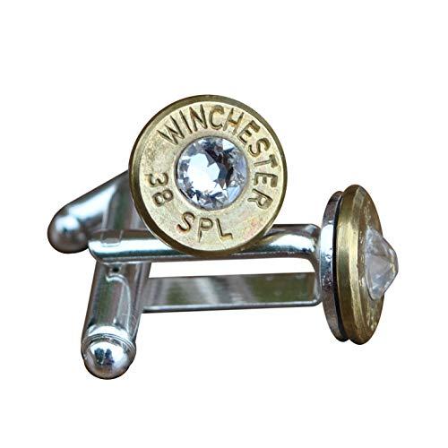SJP Cufflinks Bullet Boutons de manchette (Or) avec cristal Swarovski pour homme Steampunk Hunter Gun