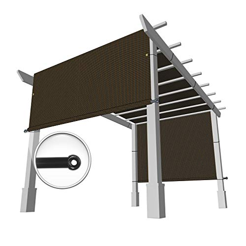 Windscreen4less 10' x 16' Universal Replacement Shade Cover Canopy for Pergola Patio Porch Privacy Shade Screen Panel with Grommets on 2 Sides Includes Weighted Rods Breathable UV Block Brown