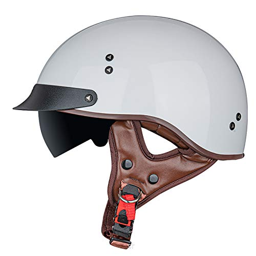 SJAPEX Medio Casco de Motocicleta para Hombres Mujeres con Visera Solar Anti Hebilla de Liberación Rápida Dot/ECE Aprobado Half Face Cycling Motorbike Open Face Helmet. B,L=58~59cm