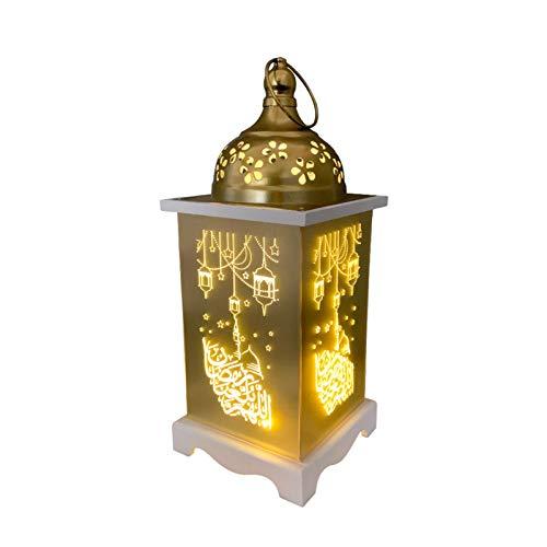 bozitian Ramadan - Farolillo oriental con LED dorados, portavelas colgante de cristal para jardín, para el hogar, patio o balcón