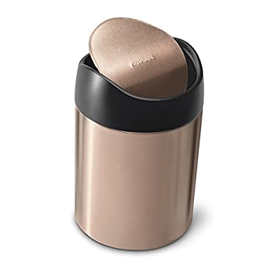 simplehuman 1.5L Countertop Trash Can, Rose Gold