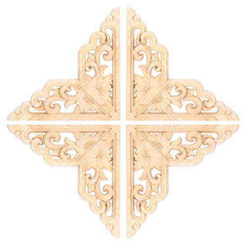 Zerodis 4 Piezas de Madera Tallada onlay Apliques Tallado en Madera carpintería Cama Puerta Esquina calcomanía Muebles para el hogar decoración