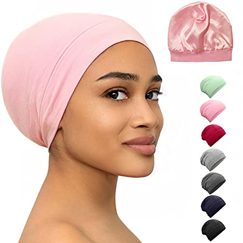 Satin Bonnet Lined Sleeping Beanie Hat Bamboo Headwear Frizzy Natural Hair Nurse Cap for Women and Men (Light Pink)