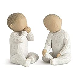 Sentiment: Love in abundance written on enclosure card Two hand-painted resin figures, tallest is 2 Inch Ready to display on a shelf, table or mantel; to clean, dust with soft brush or cloth A gift for parents of twins or this two-baby set could refl...