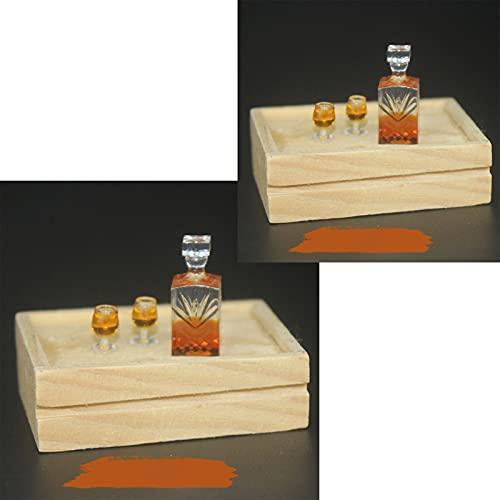 zhaibiao-us 1:12 casa de muñecas botella de vino taza set mini whisky botella tazas muñeca casa accesorios miniatura comida escena fingir jugar juguete