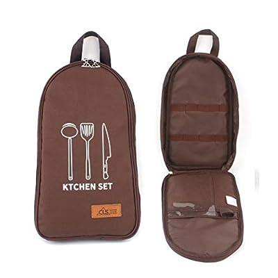 Eohak Cooking Utensils Travel Bag Camp, Portable Camping Kitchen Utensils Organizer (Brown)