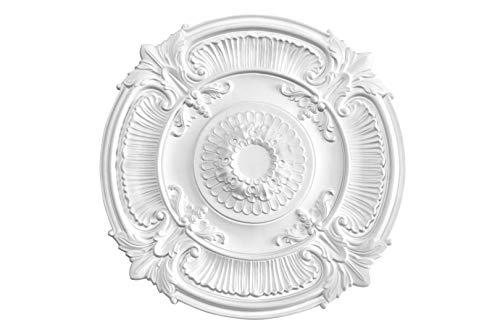 HEXIM Perfect Stuckrosette - Deckenrosette aus PU hartschaum, robust, Zierelement (B3096 - Ø 775 mm) Kronleuchter Umrandung Medaillon Innendekor