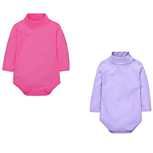 CuteOn 2 paquetes Unisexo Bebé Rompers - Cuello polo Manga Larga - 100% Algodón - Infantil Body Mono Rosa + Púrpura 24 Meses