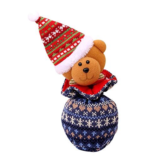 Sinifer 2 PCS Christmas Portable Knit Candy Bag Cartoon Deer Pattern Apple Pouch Snowman, Home Ornaments Xmas Gifts Kids' Doll(A)