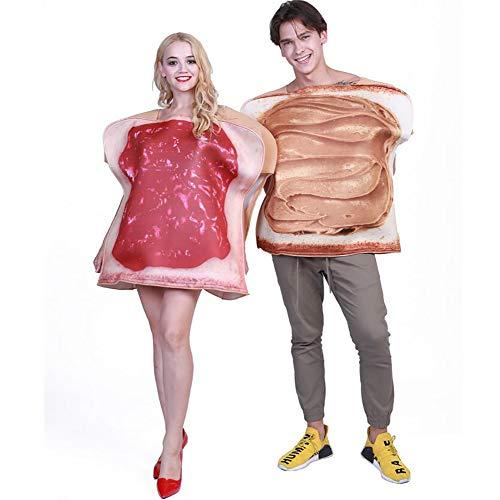 SHANGLY Sndwich Disfraz Cosplay Pareja Adulto Toast Funny Food Jumpsuit Fiesta de Carnaval de Halloween,COUPLESET