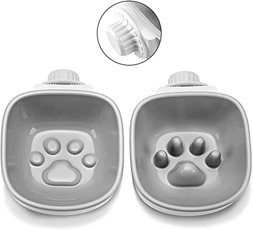 Puzzlos Pair of Crate Hanging Dog Cat Slow Feeder Bowl & Water Feeding Bowl, Fun Interactive Feeder Pet Bowl Fit Small Dogs Cats (1 Slow Feeder & 1 Footprint Bowl) (Grey)