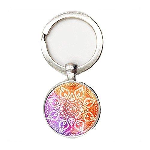 Llavero de estilo retro con mandala, cadena larga, para yoga, joyería de mandala, diseño de flor de la vida
