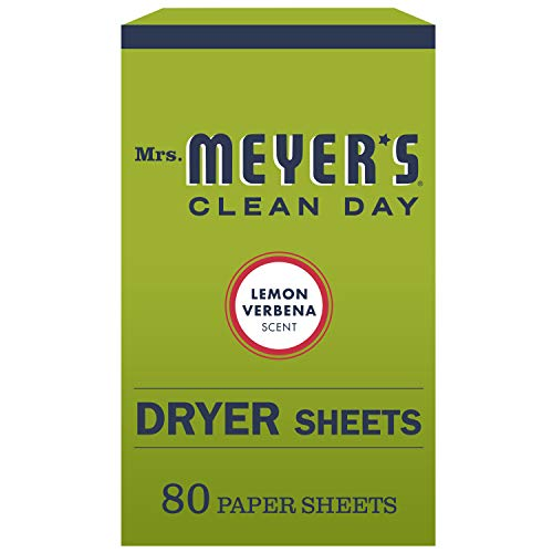 Mrs. Meyer's Clean Day Dryer Sheets, Softens Fabric, Reduces Static, Cruelty Free Formula, Lemon Verbena Scent, 80 Count