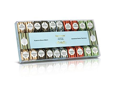 Tartuflanghe - MINI SWEET TRÜFFELN D'ALBA - MIXED (weiß / schwarz / Amaretto / Cappuccino / mint) 4 Stück auf 140 g Geschmack - Tins Acetat