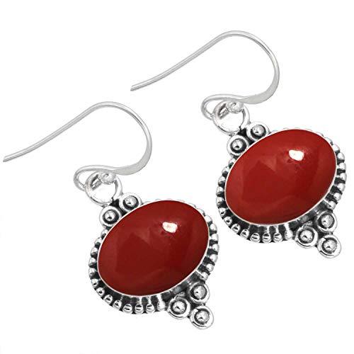 rojo Piedra Mujer Joyería 925 Esterlina Plata Pendiente de la (98519_RS_E)