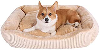JEMA Rectangle Dog Bed - Lounger for Dogs & Cats with Non Slip Waterproof Bottom, Square Medium Cuddler Pet Bed …