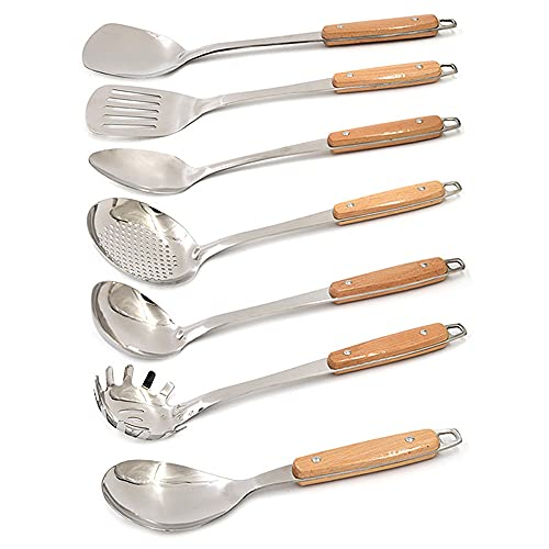 XGLIPQ A thick full set of seven-piece non-magnetic stainless steel kitchenware set, kitchenware, spatula, spoon, colander, cookware spatula, strong and durable
