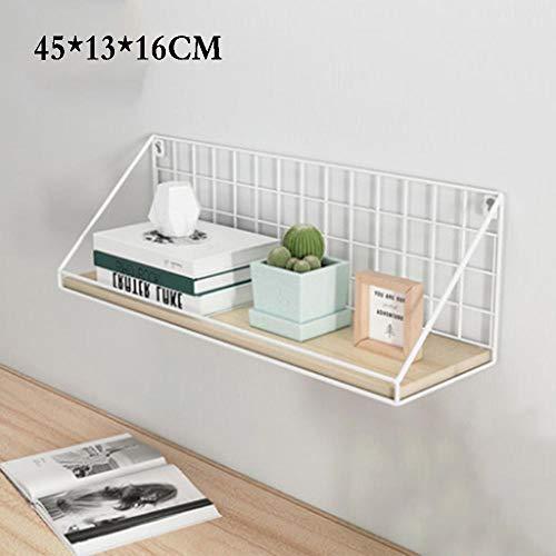 QSAA Restaurant plank muur opknoping decoratie slaapkamer muur woonkamer creatieve Scandinavische smeedijzeren TV muur plank Woord partitie (groot met Guardrail) - esdoorn kersenhout + wit frame