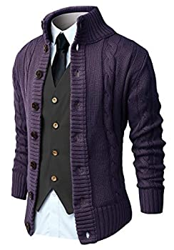 NITAGUT Mens Long Sleeve Casual Slim Fit Cardigan Cable Knitted Sweater Thermal Button Down Closure,Purple,Large
