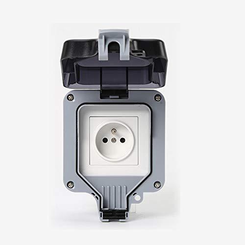 Enchufe impermeable IP66 enchufe exterior antipolvo enchufe eléctrico de pared con interruptor para casa de campo, jardín, cuarto de baño, garaje, piscina