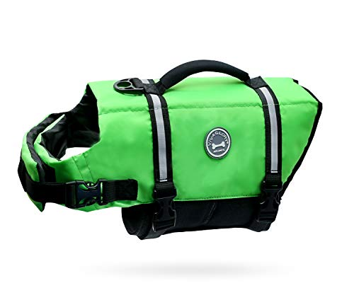 Vivaglory Ripstop Dog Life Vest, Reflective Dog Life Jackets with Enhanced Buoyancy & Rescue Handle for Swimming, Bright Green, XS