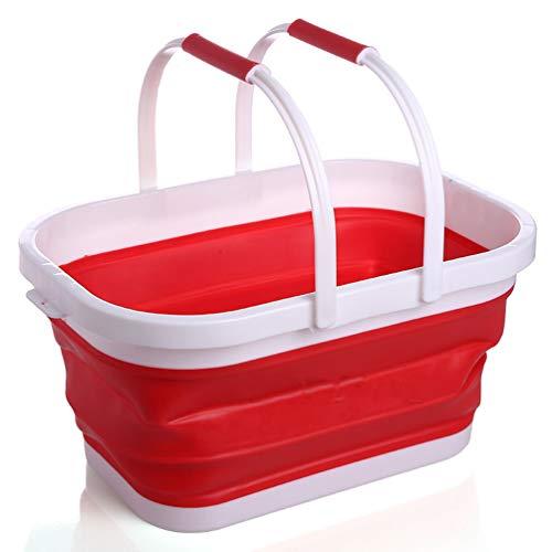 WANGLXFC Tragbar Faltbare Wanne mit Griff, Tragbarer Picknickkorb, Faltbare Einkaufstasche, Platzsparender Aufbewahrungsbehälter Multifunktion, Red