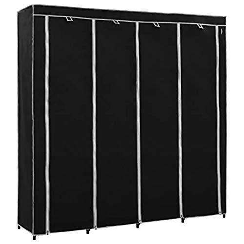 SOULONG Armario Closet Organizador Plegable para Ropa Ropero Resistente al Polvo Guardarropa Negro 175 x 45 x 170 cm