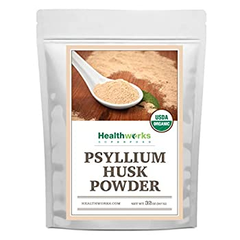 Healthworks Psyllium Husk Powder  32 Ounces / 2 Pounds  | Raw | Certified Organic | Finely Ground Powder from India | Keto Vegan & Non-GMO | Fiber Support | Packaging May Vary