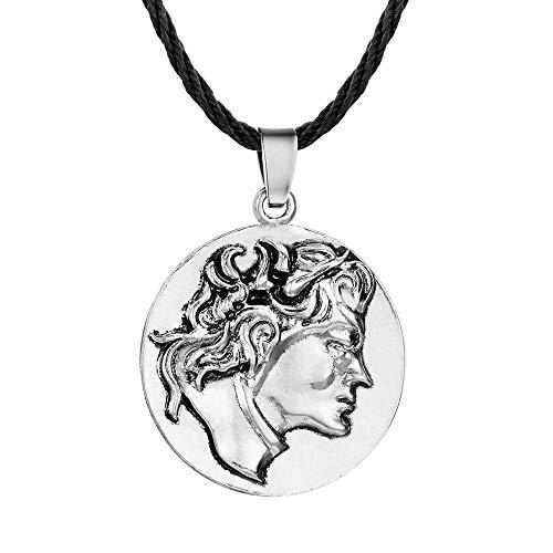 Anhänger Halskette Schmuck Vintage Runde Münze Halsketten Anhänger Gesicht Klassische Seilkette Anhänger Freundschaft Geschenk-Antique_Silver