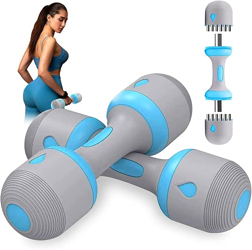 Dripex Adjustable Dumbbells Set Hand Weights Pair of 10kg(2*5kg) for Men, Women, Kids, Home/Office Gym Fitness & Exercise -Adjustable with 5Kg