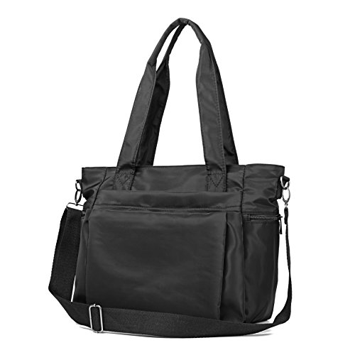 ZOOEASS Women Fashion Large Tote Shoulder Handbag Waterproof Multi-function Nylon Travel Messenger Bags (Black)