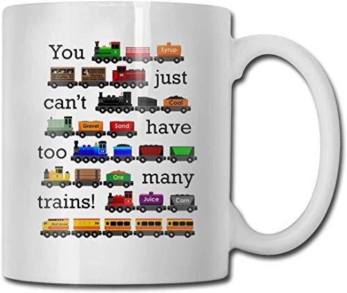 Taza de café de doble cara de 15 onzas, con diseño de muchos trenes, divertido regalo de café, taza de cacao, el mejor regalo para cumpleaños y Navidad