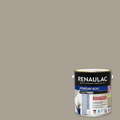 Renaulac Peinture Bois Beige Mastic - Garantie 10 ans - 2,5L - 30m² / pôt