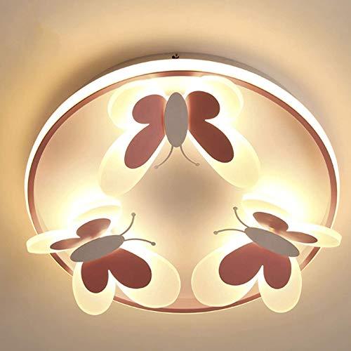 BHBXZZDB Lámpara de Techo para habitación de niños de Princesa, lámpara LED de Mariposa, habitación de niña, jardín de Infantes, Dormitorio cálido Simple, lámpara de Techo Rosa, luz cálida