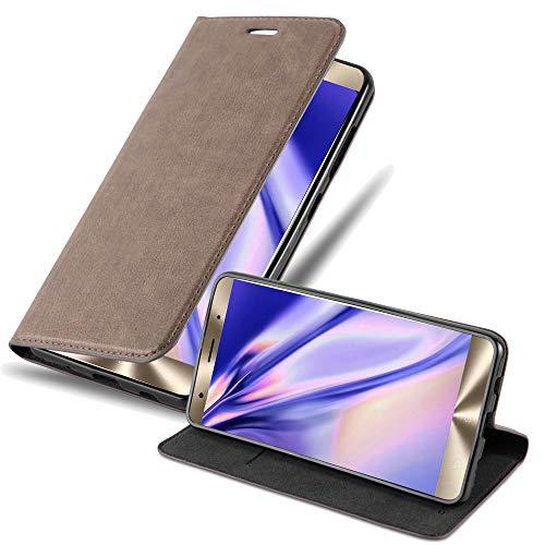 Cadorabo Hülle für ASUS ZenFone 3 Deluxe - Hülle in Kaffee BRAUN – Handyhülle mit Magnetverschluss, Standfunktion & Kartenfach - Case Cover Schutzhülle Etui Tasche Book Klapp Style