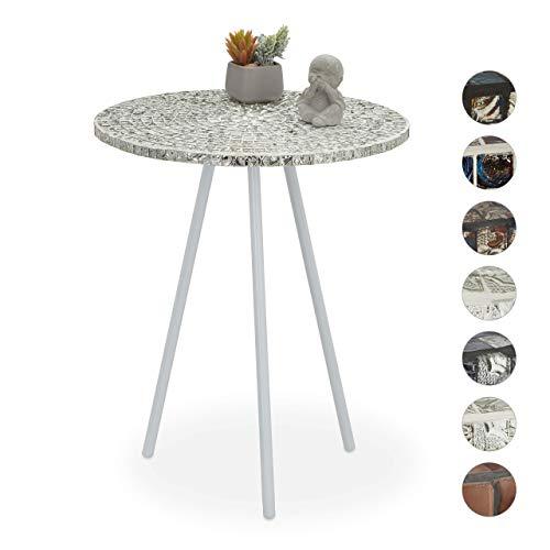 Relaxdays Beistelltisch Mosaik, runder Ziertisch, handgefertigtes Unikat, 3 Beine, Mosaiktisch, HxD: 50 x 41 cm, weiß, 50, 00 x 41,00cm