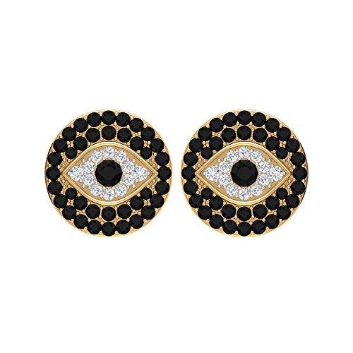 Pendientes de tuerca de ojo malvado de diamante blanco y negro de 1/2 quilates (calidad AAA), con rosca trasera amarillo