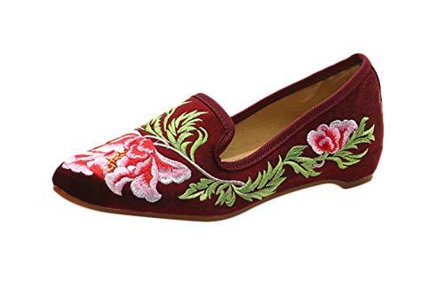 Liveinu Damen Handgemachte Blumen Gestickte Geschlossene Ballerinas Tuch Schuhe Slipper Flats Schuhe Weinrot Stil 1 35 EU