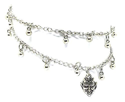 Eclectische winkel Uk duivel Satan bedeltje enkel armband kralen enkel dubbele ketting voet sieraden Boho zilver toon