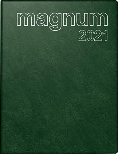 rido/idé 7027042581 Buchkalender magnum, 2 Seiten = 1 Woche, 183 x 240 mm, Schaumfolien-Einband Catana dunkelgrün, Kalendarium 2021