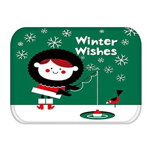 HLXX Alfombra en el Pasillo Cocina Felpudo de Goma Feliz Navidad Ciervos Bienvenido Decoración para el hogar Alfombra de Sala de Estar Alfombra Antideslizante a Prueba de Polvo A16 40x60cm