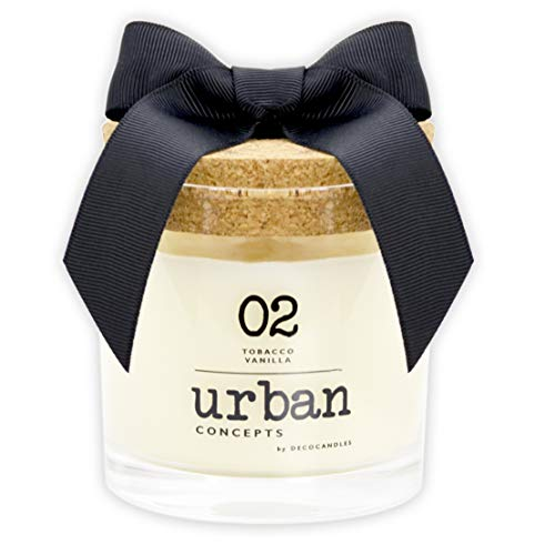 Urban Concepts by DECOCANDLES | Tobacco Vanilla - Highly Scented Soy Candle - Long Lasting - Hand Poured in USA, 6.7 Oz. w/ Cork lid